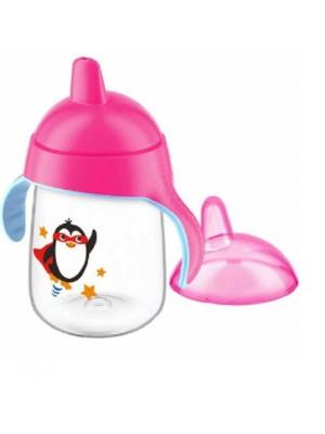Copo Pinguim Bico Rigido Rosa 260Ml - Avent