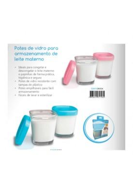 4 Potes De Vidro P/ Armazenamento De Leite - Clingo