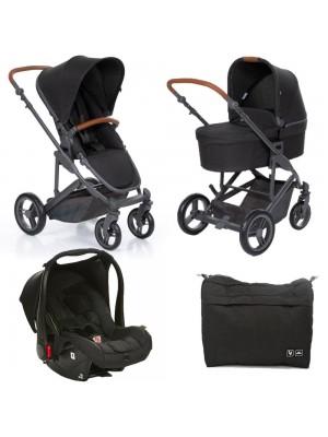Travel System Trio Como 4  woven Black com Couro - Abc Design